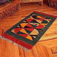 Zapotec wool rug, 'Fish Stories' (2.5x5) - Zapotec wool rug (2.5x5)