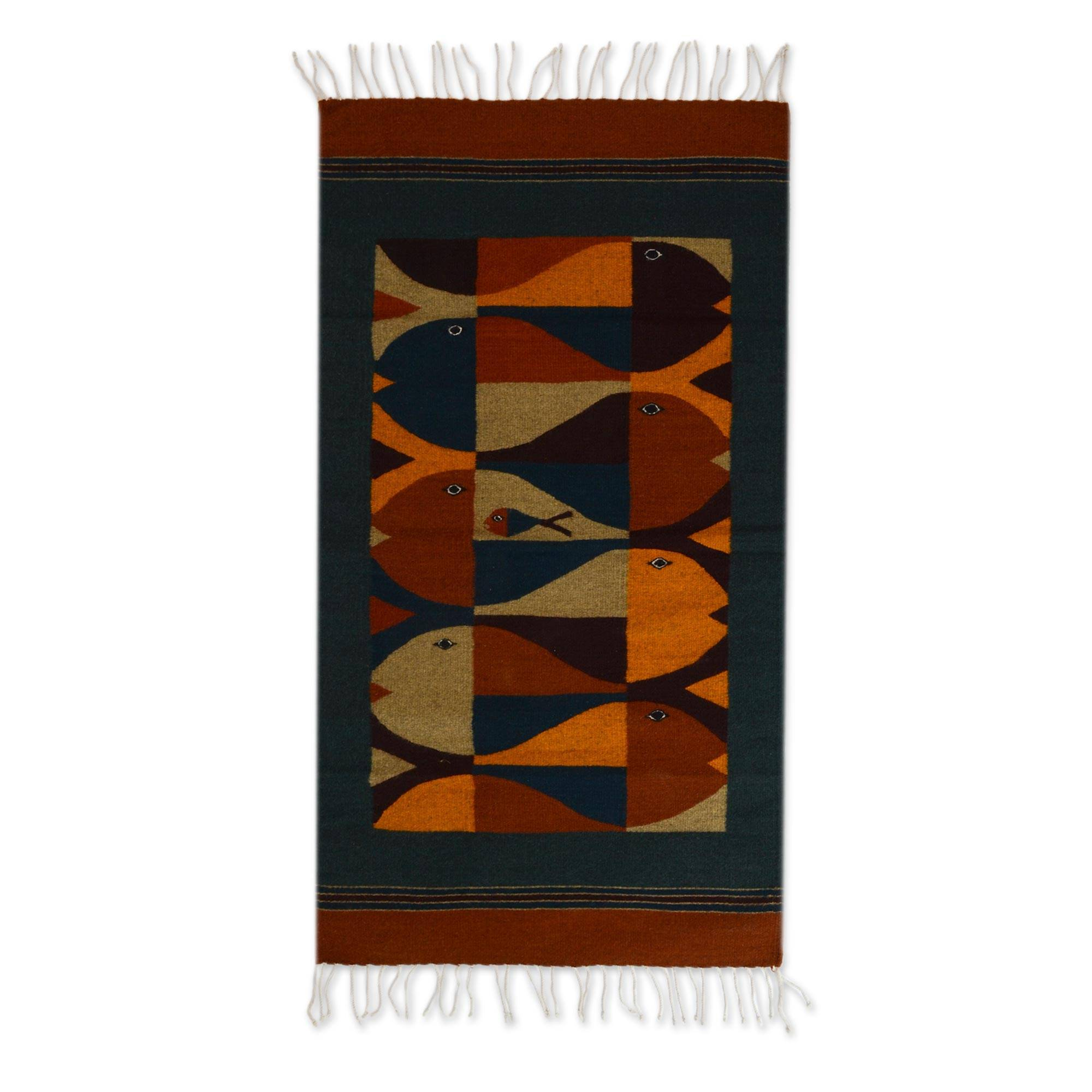 Unicef Market Zapotec Wool Rug 2 5x5 Fish Stories