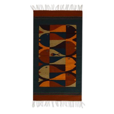 Zapotec wool rug, 'Fish Stories' (2.5x5) - Zapotec wool rug (2.5x5)