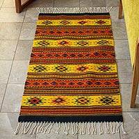 Zapotec wool rug, 'Oaxaca Sun' (2.5x5) - Unique Zapotec Wool Area Rug (2.5x5)