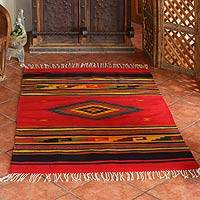 Zapotec wool rug, 'Red Maguey' (4x6.5)