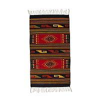 Zapotec wool rug, 'Ancestral Red' (2.5x5)