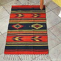 Zapotec wool rug, 'Swift Arrows' (2x3) - Unique Geometric Wool Area Rug from Mexico (2x3)