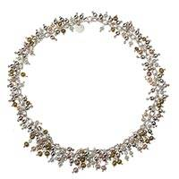 Silver choker, 'Pearls Dance in the Aztec Sun' - Fair Trade Taxco Silver Pearl Strand Necklace from Mexico