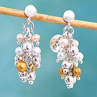 Pearl cluster earrings, 'Pearls Dance in the Aztec Sun' - Pearl cluster earrings