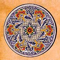 Talavera ceramic plate, 'Carnation Star' - Talavera ceramic plate