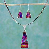 Dichroic glass jewelry set, 'Pyramid of Fire' - Hand Made Art Glass Pendant Jewelry Set