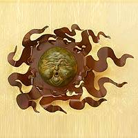 Iron and ceramic  wall adornment, 'Gust of Sun' - Solar Wind Steel Wall Art