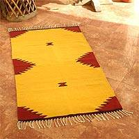 Wool rug, 'Burning Mountains' (2.5x5) - Hand Made Zapotec Wool Area Rug (2.5x5)