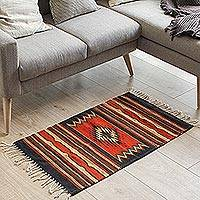 Wool rug, 'Zapotec Window' (2x3) - Handcrafted Mexican Wool Area Rug