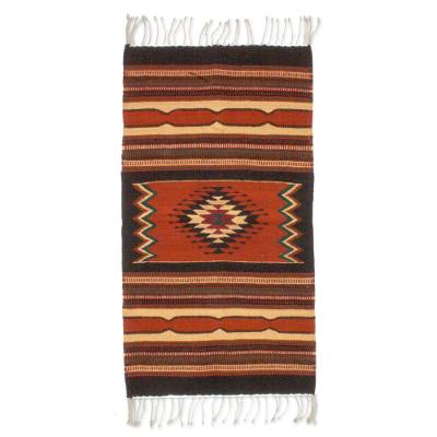 Wool rug, 'Zapotec Window' (2x3) - Zapotec Wool Area Rug (2x3)