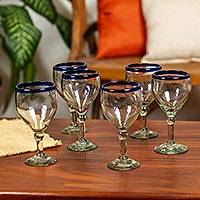Wine goblets, 'Acapulco' (set of 6) - Handblown Recycled Glass Blue-Trimmed Cocktail Set