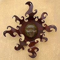 Iron and ceramic wall adornment, 'Sumptuous Sun' - Sun Wall Sculpture Metal and Ceramic Art Handmade in Mexico
