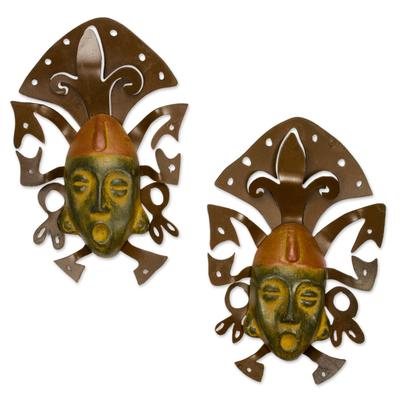 Wall Art Iron and Ceramic Mask Set Handmade Mexico