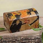 Frida Multicolor Wood Decorative Box, 'Frida Kahlo and Friends'