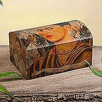 Decoupage chest, 'Frida's Self-Portrait' - Decoupage chest