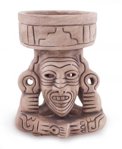 Mexico Handcrafted Archaeological Deity Ceramic Sculpture