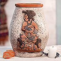 Ceramic vase, 'Maya King of Palenque' - Mexican Archaeological Ceramic Vase Crafted by Hand