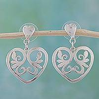 Sterling silver heart earrings, 'Eternal Desire' - Heart Shaped Sterling Silver Dangle Earrings