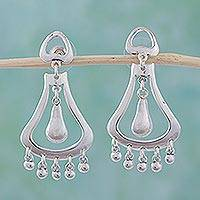 Sterling silver chandelier earrings, 'Silver Jingles' - Sterling silver dangle earrings