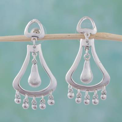 Sterling silver dangle earrings, 'Silver Jingles' - Sterling silver dangle earrings