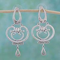 Sterling silver dangle earrings, 'Silver Arabesques'