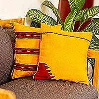 Wool cushion covers, 'Burning Mountains' (pair) - Set of 2 Artisan Crafted Yellow Wool Striped Cushion Covers