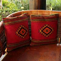 Wool cushion covers, 'Starburst' (pair) - Handcrafted Aurora Red Cushion Covers
