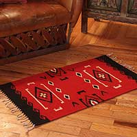 Zapotec wool rug, 'Navajo Red' (2x3.5) - Zapotec Wool Area Rug (2x3.5)