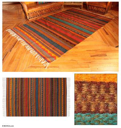 Zapotec wool rug, 'Dancing Colors' (6x9.5) - Zapotec wool rug (6x9.5)