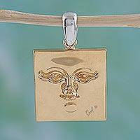 Gold plated pendant, 'Golden Mask' - Gold plated pendant