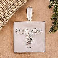 Sterling silver pendant, 'Silver Mask' - Sterling silver pendant