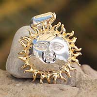 Gold plated pendant, 'Jolly Sun' - Artisan Crafted Gold Accent Sun and Moon Pendant