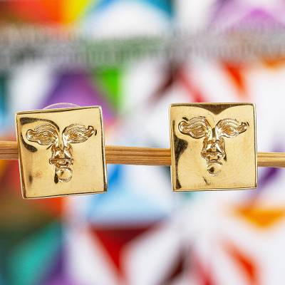 Gold plated button earrings, 'Golden Mask' - Gold plated button earrings