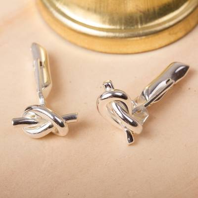 Sterling silver cufflinks, 'Tying the Knot' - Sterling silver cufflinks