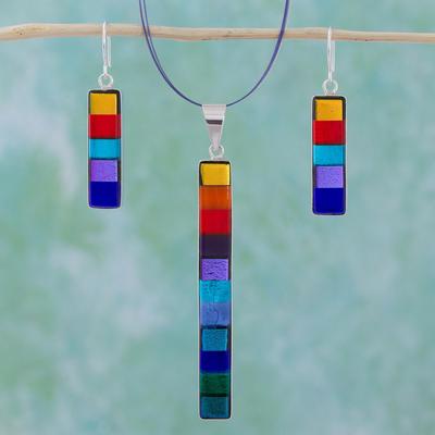 Dichroic art glass jewelry set, 'Rainbow' - Modern Art Glass Pendant Jewelry Set