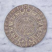 Ceramic plaque, 'Aztec Calendar in Umber'