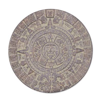 Ceramic plaque, 'Aztec Calendar in Umber' - Unique Mexico Archaeological Ceramic Calendar