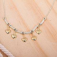 Gold plated heart necklace, 'Five Dancing Hearts' - 22k Gold Plated Romantic Silver Heart Necklace
