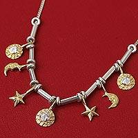 Gold accented sterling silver necklace, 'Universe' - Rare Hand-Crafted Gold Plated Celestial Choker