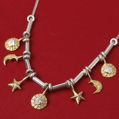 Gold accented sterling silver necklace, 'Universe' - Gold plated choker