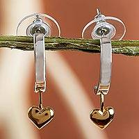 Gold plated heart earrings, 'Heart on a Hoop' - Gold plated heart earrings