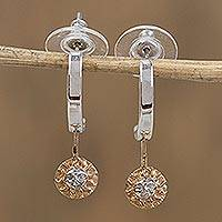 Gold accented dangle earrings, 'Celestial Sun' - Hand Crafted Gold Accent Astrology Earriings
