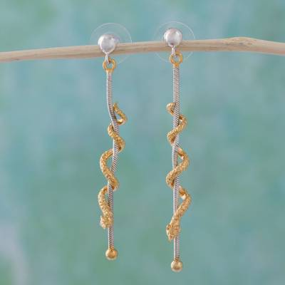 Gold plated dangle earrings, 'Climbing Serpents' - Gold plated dangle earrings