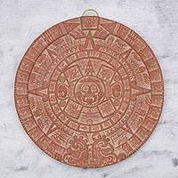 Ceramic plaque, 'Burning Aztec Sun Stone' - Archaeological Ceramic Plaque from Mexico
