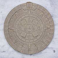 Ceramic plaque, 'Frozen Aztec Sun Stone' - Mexican Archaeological Ceramic Plaque Crafted by Hand
