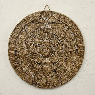 Ceramic plaque, 'Honey Aztec Sun Stone' - Hand Crafted Archaeological Ceramic Calendar