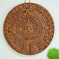 Ceramic plaque, 'Aztec Sun Stone in Terracotta' - Ceramic Archeological Wall Plaque Handmade in Mexico