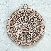 Ceramic plaque, 'Aztec Sun Stone in White' - Ceramic plaque