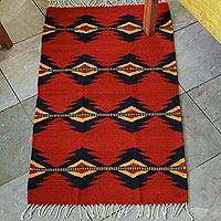 Zapotec wool rug, 'Red Lightning' (2x3) - Mexican Zapotec Wool Rug 2 X 3 Ft Handmade